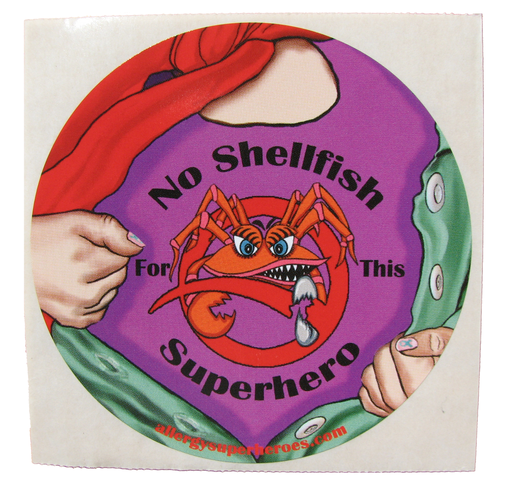 CLAWS Shellfish Allergy girl sticker by food Allergy Superheroes.