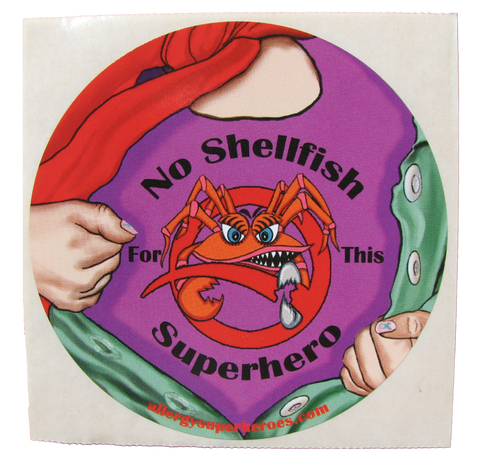 Shellfish Allergy Superhero Girl Sticker