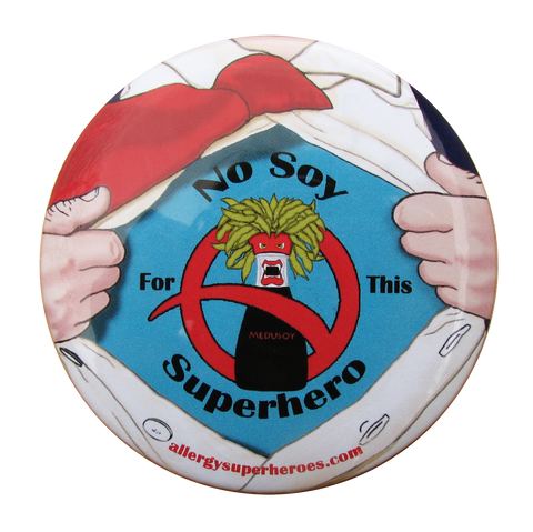 Soy Allergy Superhero Boy Button