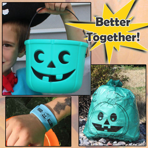 Teal Pumpkin Candy Bucket, Leaf Bag, and Glow-in-the-Dark Slap Band bundle by food Allergy Superheroes.