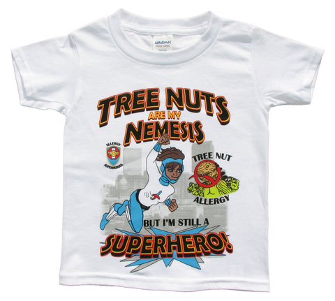 Tree Nut Allergy T-Shirt Boy Superhero Jet Trail