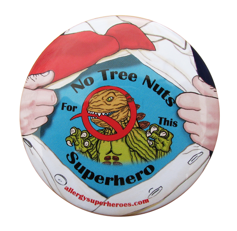 Nutzilla Tree Nut Allergy boy button by food Allergy Superheroes.