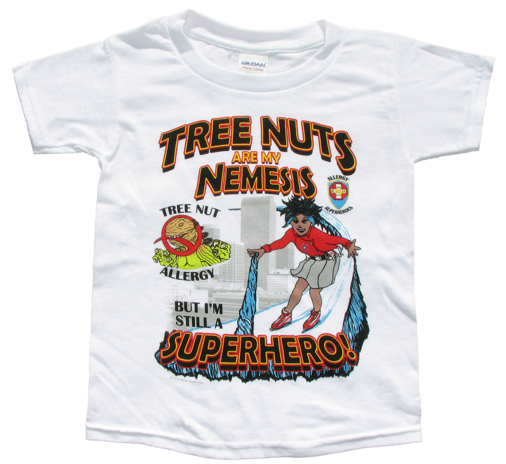 Tree Nut Allergy T-Shirt Girl Superhero Arctic Storm