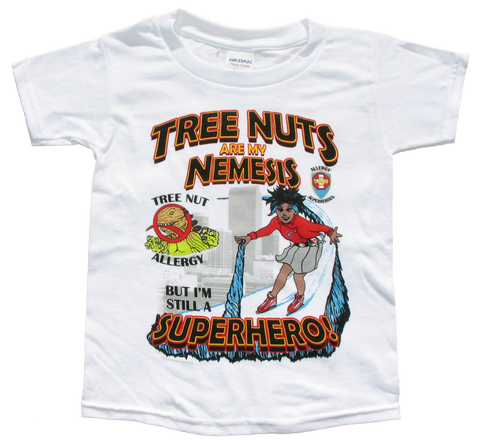 Nutzilla Tree Nut T-Shirt featuring Arctic Storm by food Allergy Superheroes.