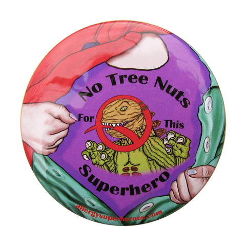 Nutzilla Tree Nut Allergy girl button by food Allergy Superheroes.