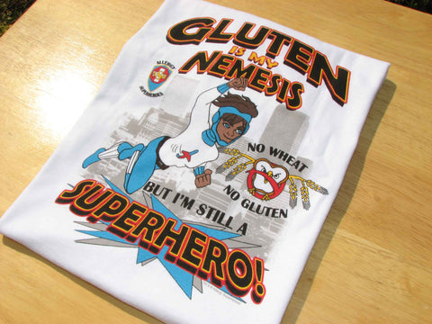 Celihawk Gluten Wheat Allergy T-Shirt featuring Jet Trail by food Allergy Superheroes.
