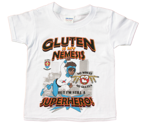 Wheat/Gluten Allergy T-Shirt Boy Superhero Jet Trail