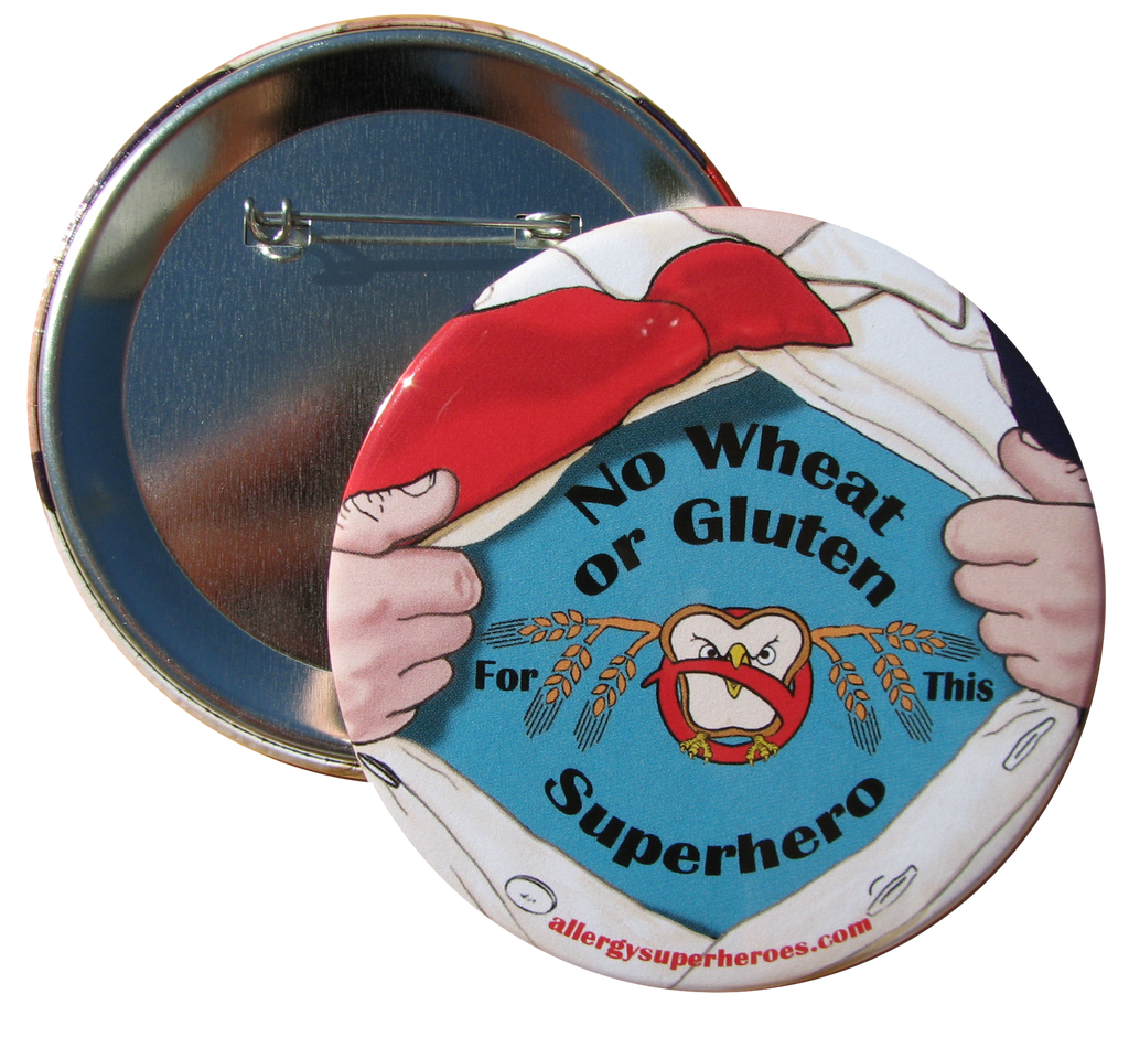 Celihawk Gluten Wheat Allergy boy button by food Allergy Superheroes.
