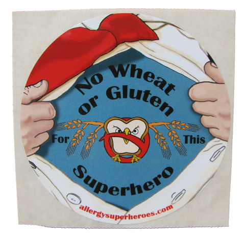 Celihawk Gluten Wheat Allergy boy sticker by food Allergy Superheroes.