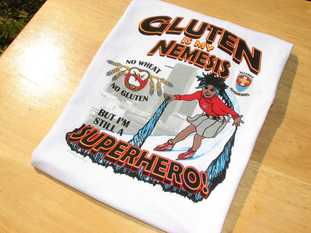 Celihawk Gluten Wheat Allergy T-Shirt featuring Arctic Storm by food Allergy Superheroes.
