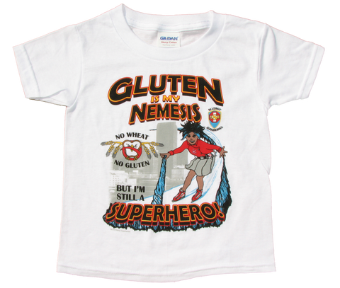 Wheat/Gluten Allergy T-Shirt Girl Superhero Arctic Storm
