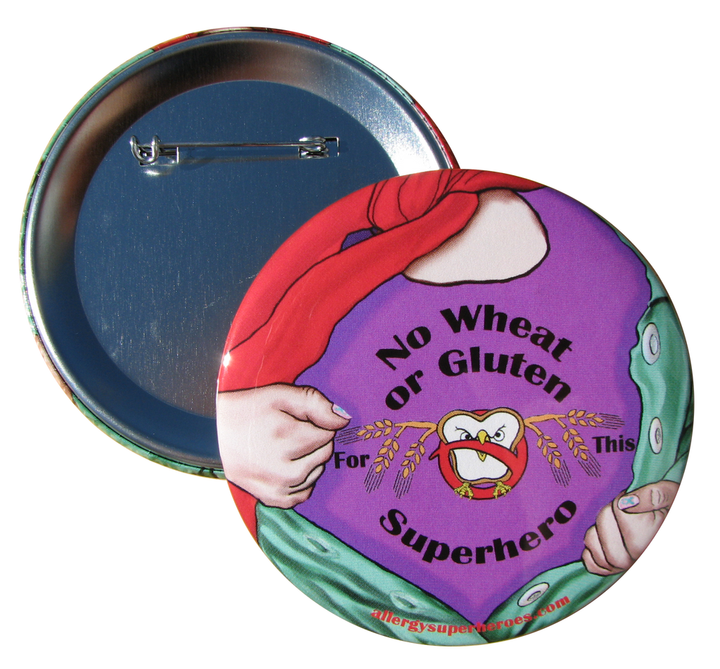 Celihawk Gluten Wheat Allergy girl button by food Allergy Superheroes.