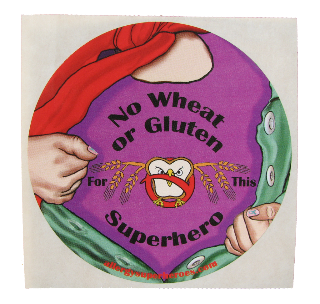 Celihawk Gluten Wheat Allergy girl sticker by food Allergy Superheroes.