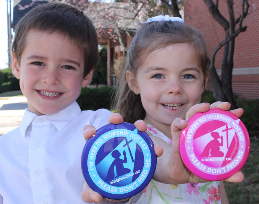 Food Allergy Superheroes Button Don't Feed Me at Church Worship Food Free Easter Products Gear Food Allergy Safe