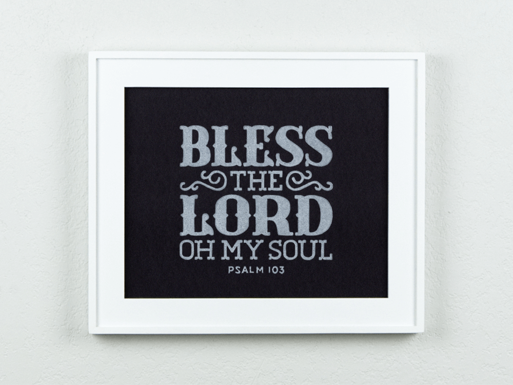 Bless the Lord (Black) Original Block Print