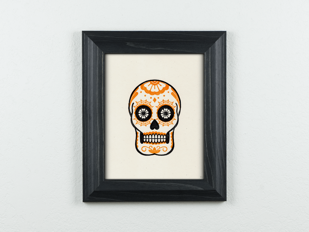 Calavera Original Blockprint