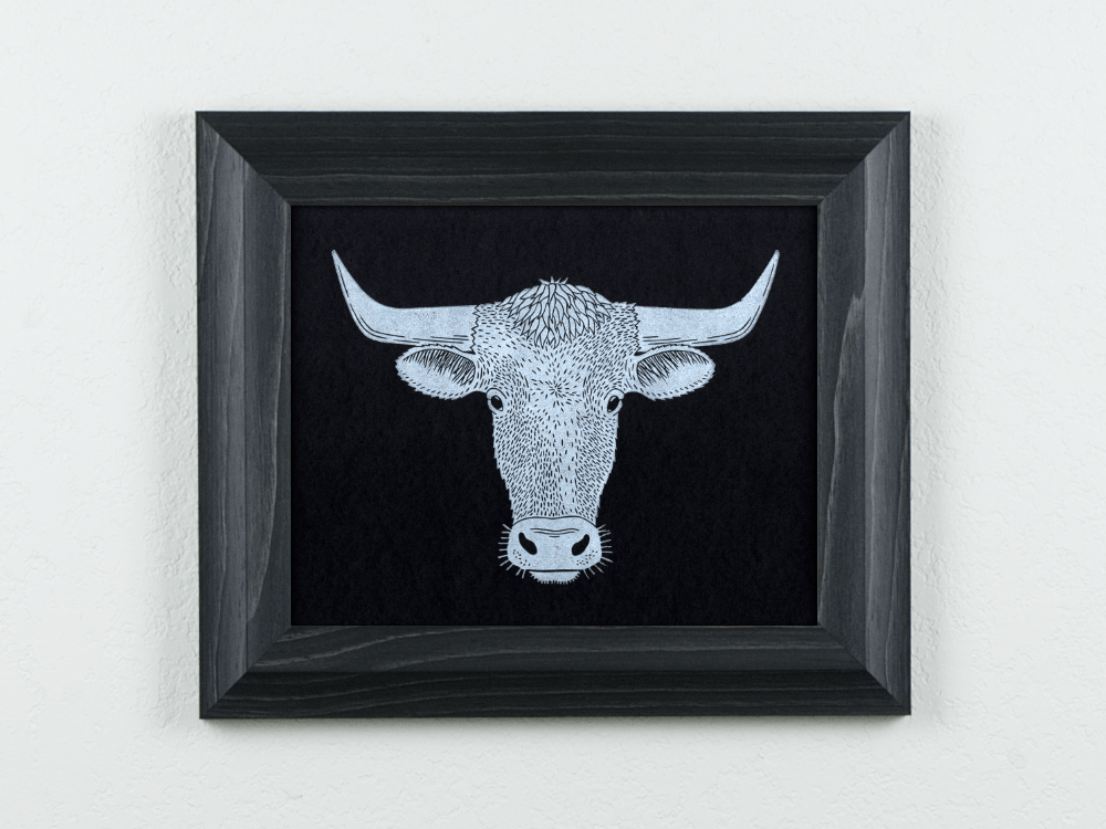 Longhorn Linocut on black paper