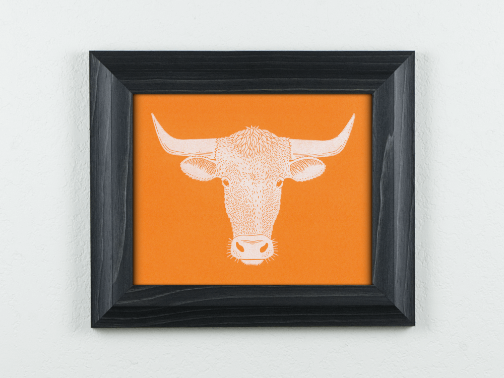 Longhorn linocut on orange paper