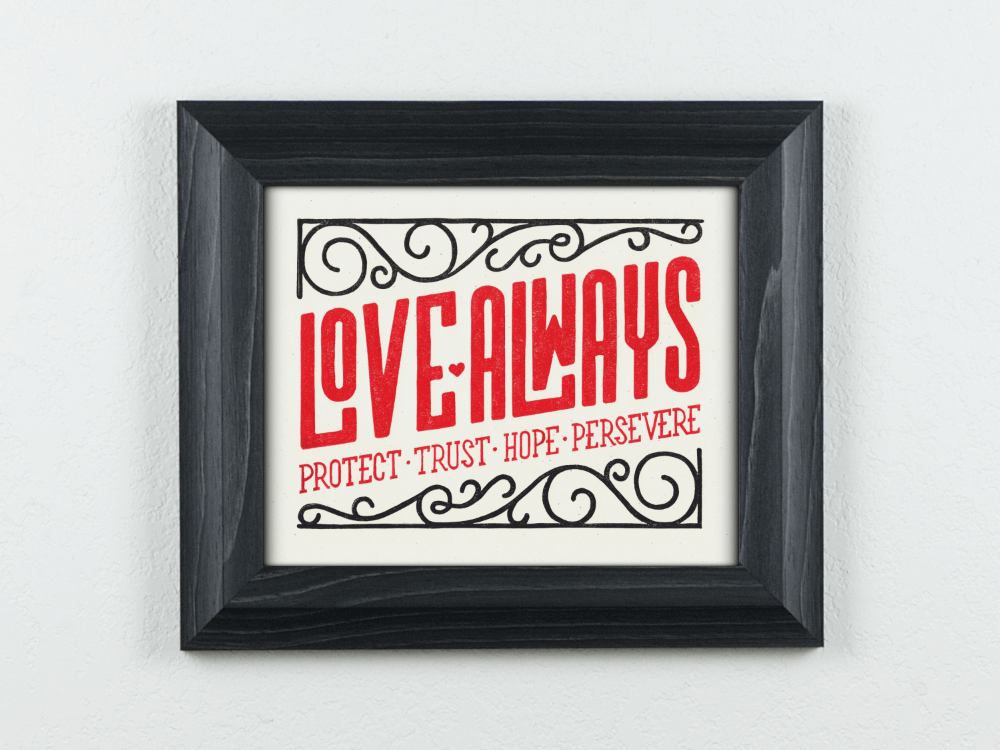 Love Always Original Blockprint