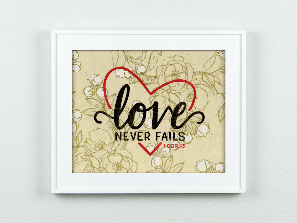 Love Never Fails on Lokta Cherry Blossoms Paper