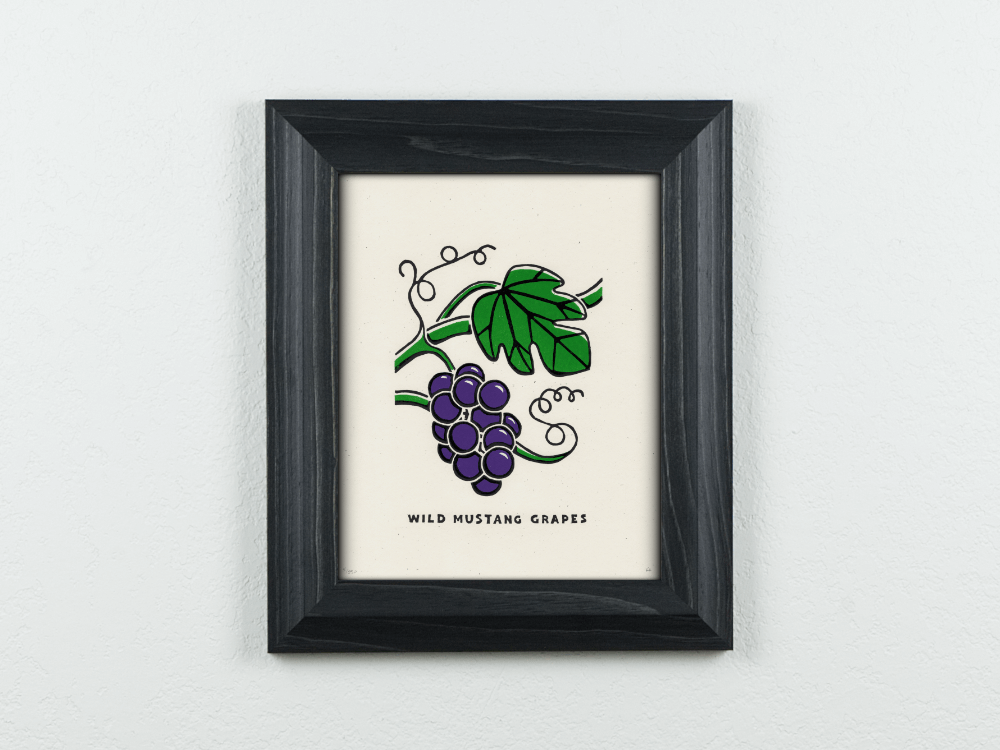 Wild Mustang Grapes Original Blockprint
