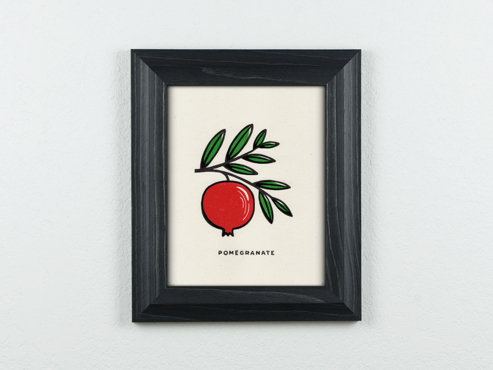 Pomegranate Original Blockprint