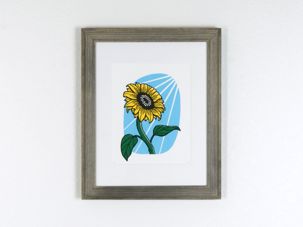 Sunflower Original Linocut | Good Cheer Paper Co