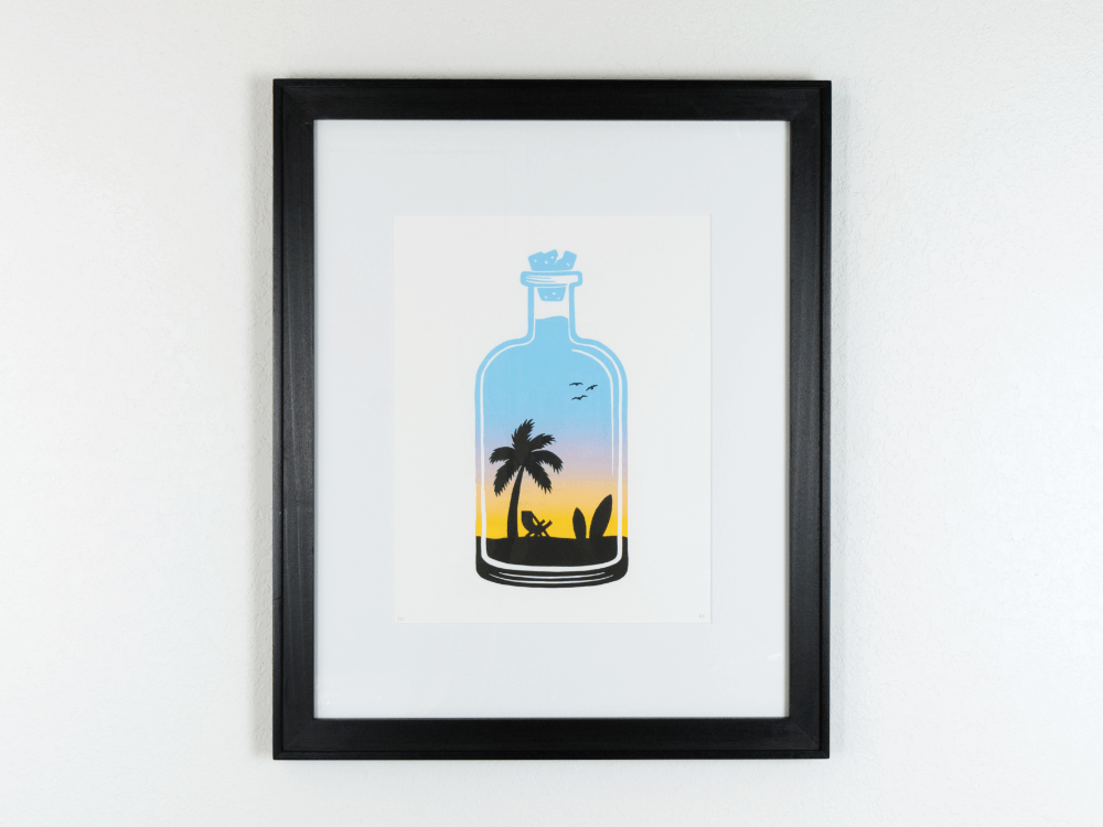 Surfin Sunrise Original Linocut | Good Cheer Paper Co