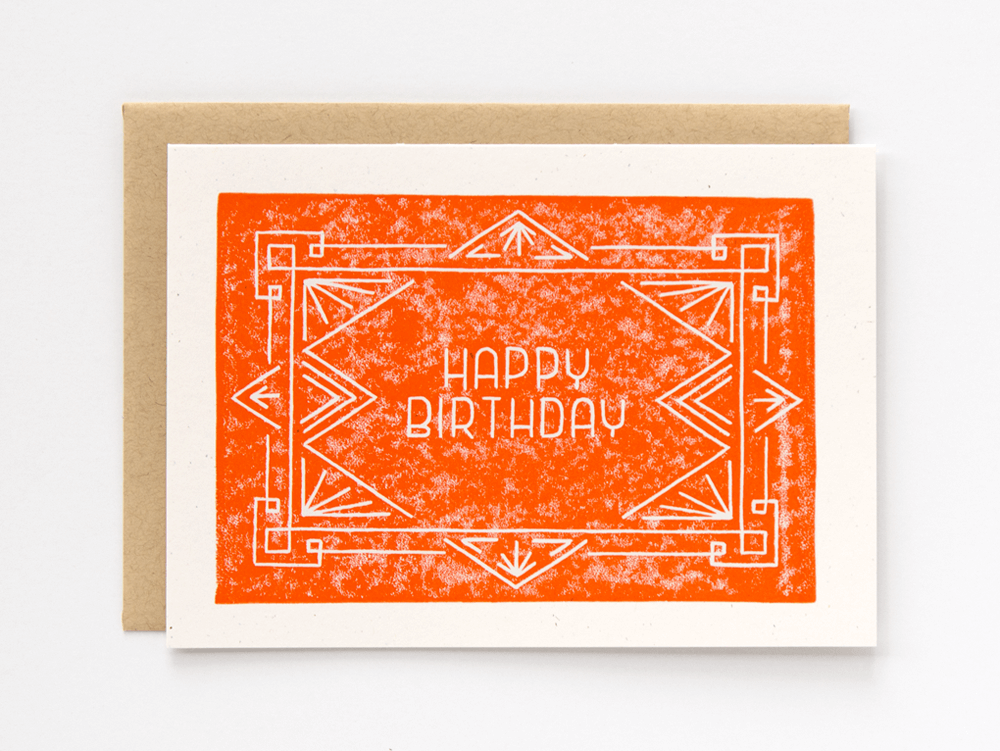 Happy Birthday (Orange) Greeting Card