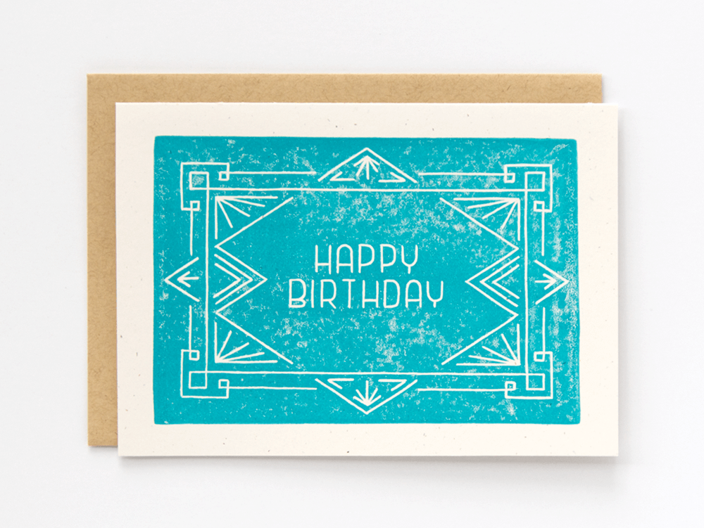 Happy Birthday (Turquoise) Greeting Card