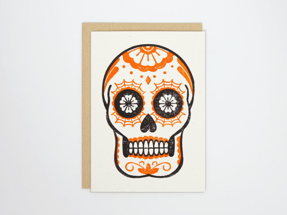 Calavera (Orange) Greeting Card