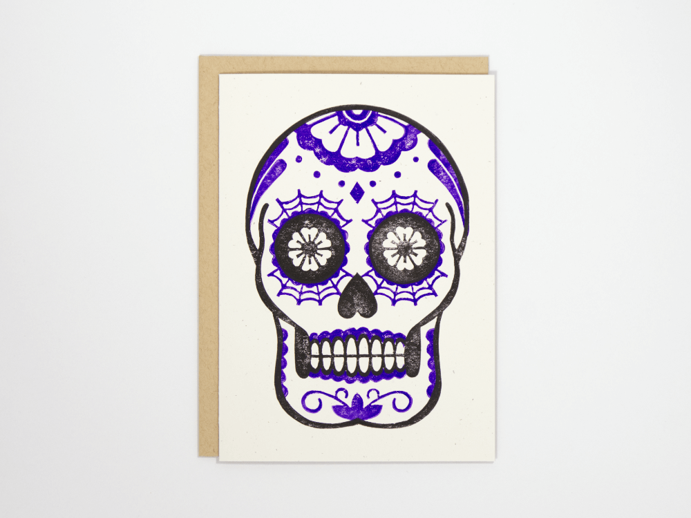 Calavera (Violet) Greeting Card