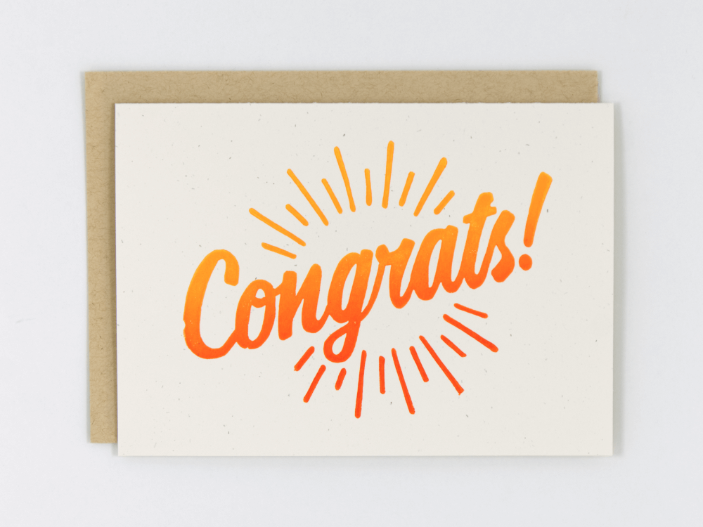 Congrats! (Orange) Greeting Card