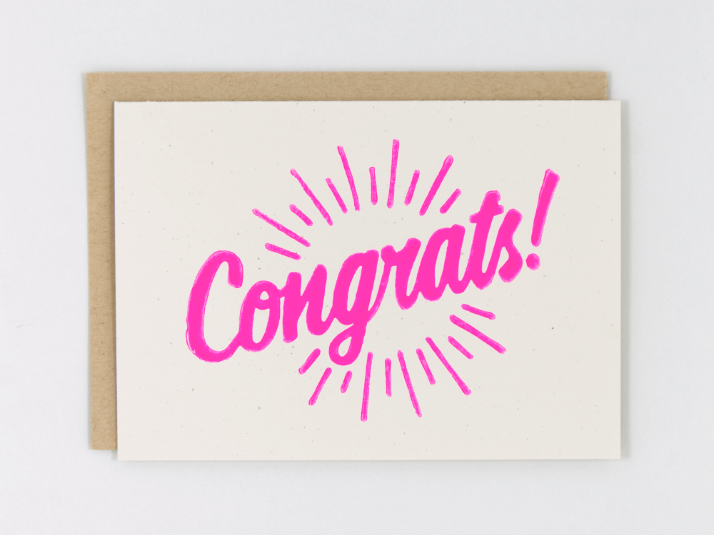 Congrats! (Hot Pink) Greeting Card