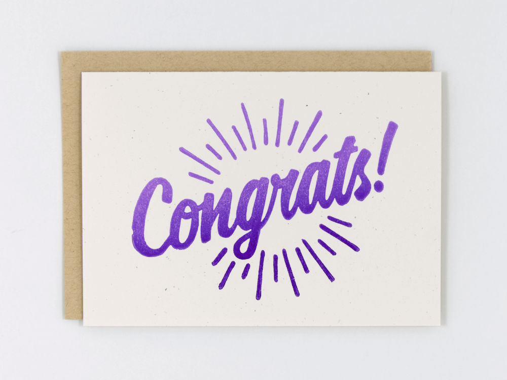 Congrats! (Purple) Greeting Card