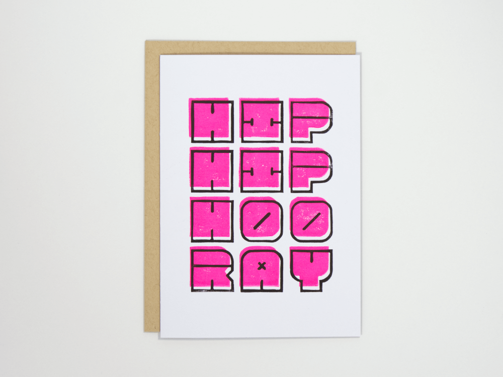 Hip Hip Hooray (Neon Pink) Greeting Card