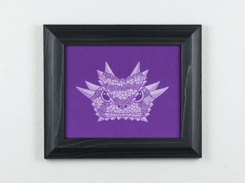 Horned Frog on purple paper