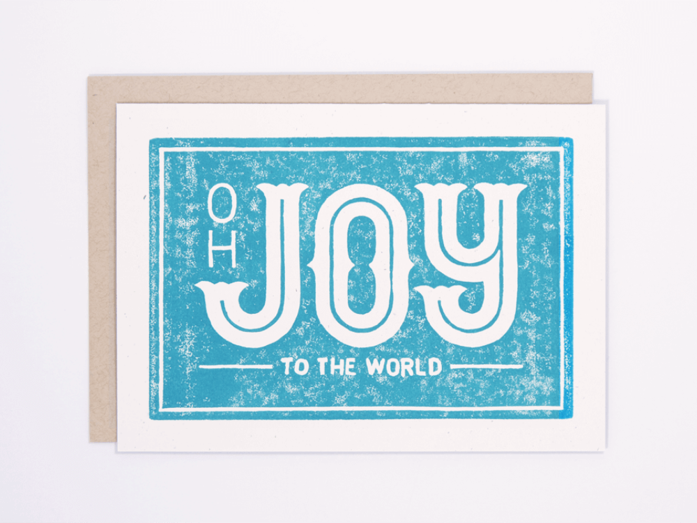 Joy to the World (Turquoise) Greeting Card