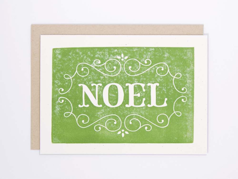 Noel (Green) Greeting Card