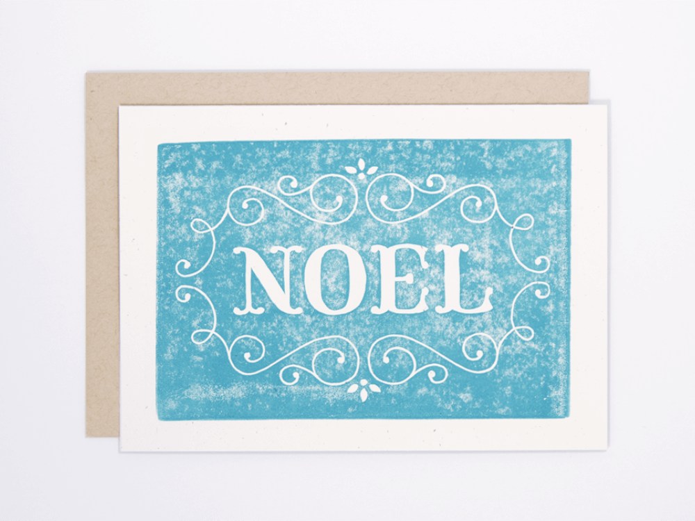 Noel (Turquoise) Greeting Card
