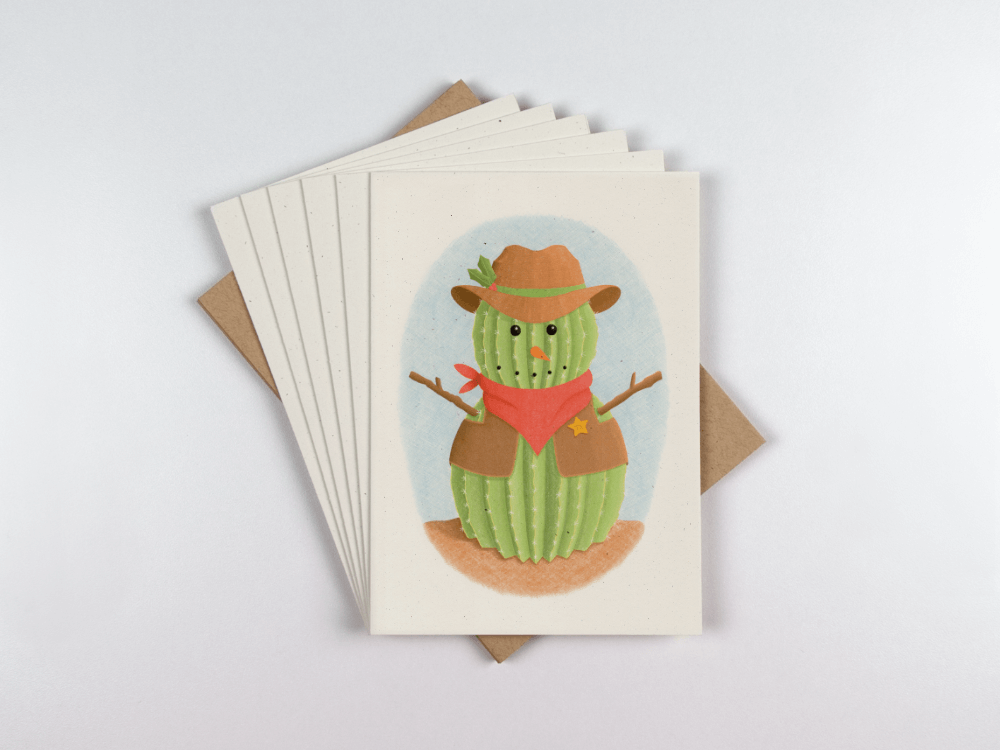 Cactus Snowman, front of card