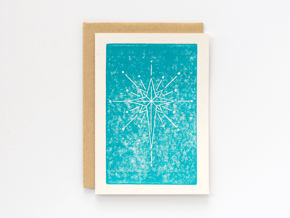 Christmas Star (Turquoise) Greeting Card