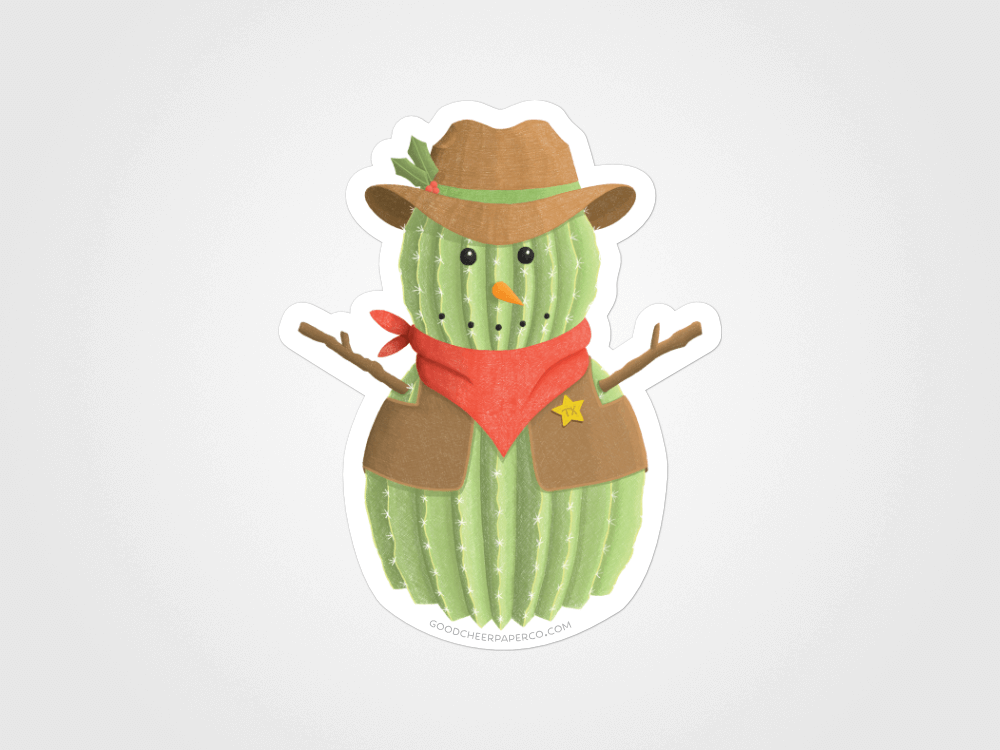Cactus Snowman Sticker | Good Cheer Paper Co
