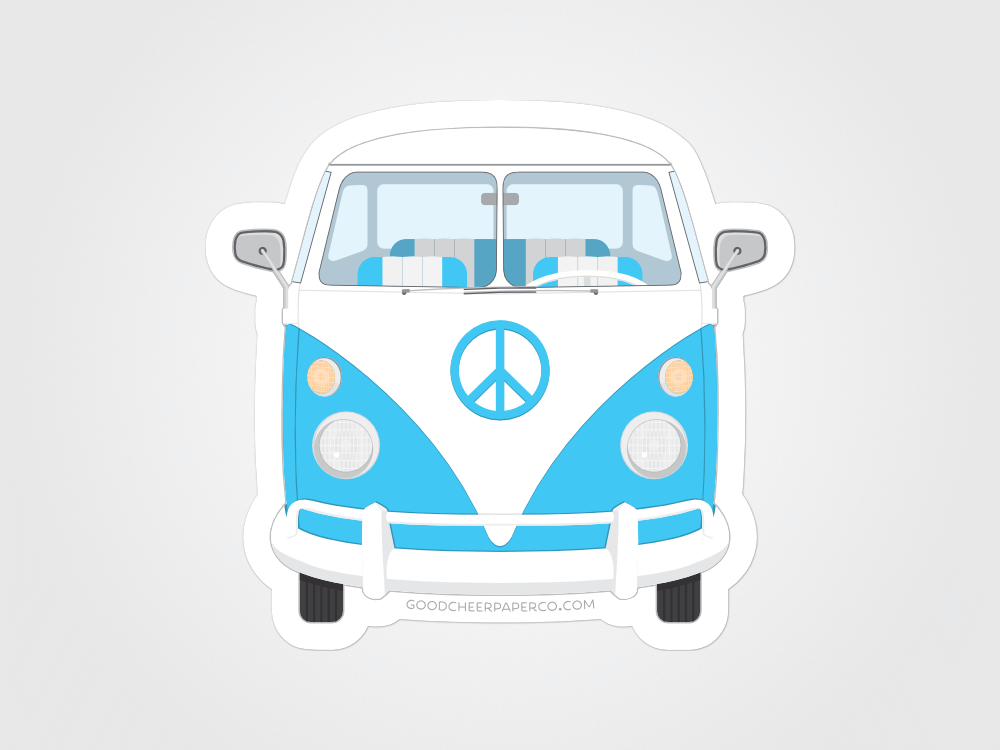 1960 VW Bus Sticker | Good Cheer Paper Co