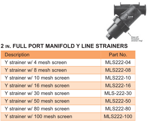 2 in. Full Port Manifold Y Line Strainers