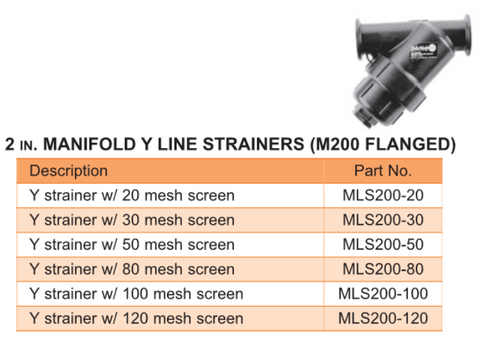 2 in. Manifold Y Line Strainers (M200 Flanged)