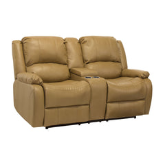 RV Double Recliner Sofa with Drop Down Console in Toffee