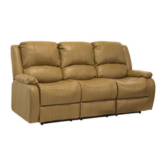 "RecPro Charles 80"" Triple RV Wall Hugger Recliner Sofa w/ Drop Down Console Toffee"