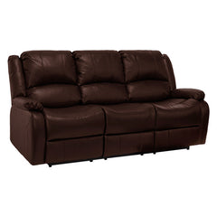 "RecPro Charles 80"" Triple RV Wall Hugger Recliner Sofa w/ Drop Down Console Mahogany"