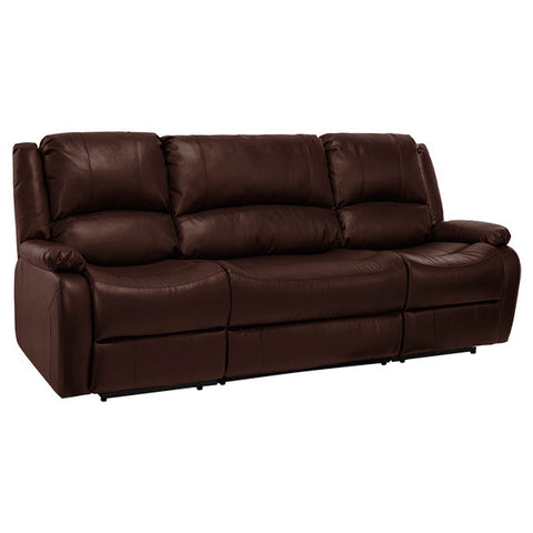 "RecPro Charles 94"" Double RV Wall Hugger Recliner Sofa w/ Drop Down Console Mahogany"